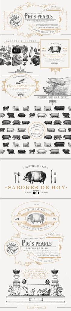 Pig´s Pearls on BehanceP I G´S   P E A R LS Lunch & Dinner Bar  Graphic identity project for a gourmet burguer restaurant located in the American Colony in Guadalajara. We take as inspiration the graphic style in the Victorian age and the English engraving of the late nineteenth century. by Daniel BARBA