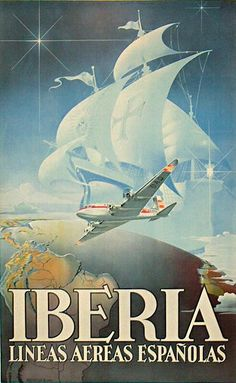 IBERIA LINEAS AEREAS ESPANOLA AEREO NAVE CIELO GLOBO STELLA