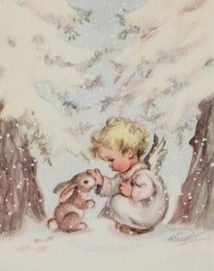 Little angel with bunny card