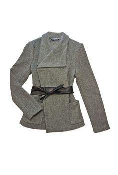 EMU jacket with belt. Available at Shades of Grey, Edmonton