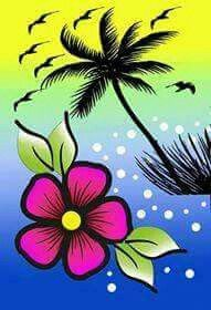 Notebook Art, Chalk Lettering, Rock Collection, Cute Designs, Color Combos, Palm Trees, Art Sketches, Flower Pots, Painted Furniture