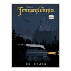 Romania Travel Inspiration - Steve Thomas [Illustration]: Transylvania by Train vintage travel poster - just in time for Halloween Europe Train Travel, Travel Ads, Japan Travel, Cool Posters, Custom Posters, Vintage Advertisements, Vintage Ads, Vintage Style, Party Vintage
