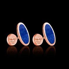 Boutons de manchette chevalière Ellipsis Lapis Lazuli or rose vermeil #boutonsdemanchette #chevalière #Ellipsis #LapisLazuli #OrRose #bijouxhomme #surmesure @Jaubalet