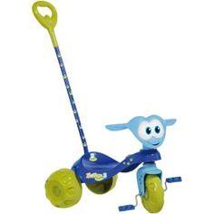 Triciclo Bandeirante Zootico Ursinho Passeio Menino, praticidade e diversão.    O triciclo companheiro na versão com haste, para um passeio divertido.