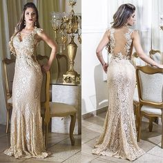 2015 Arabic Celebrity Wedding #Evening #Dresses with Lace V-Neck Sheer Back Vestidos De Fiesta For Women Sale Myriam Fares Mermaid Formal Gown Online with $120.03/Piece on Sarahbridal's Store | DHgate.com