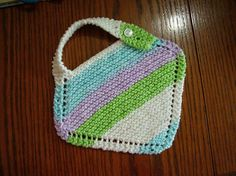 Ravelry: Grandmother's Favorite Baby Bib pattern by Merin McManus Collins (Knit) Easy Baby Knitting Patterns, Baby Bibs Patterns, Knitting For Kids, Free Knitting, Crochet Patterns, Sweater Patterns, Crochet Baby Bibs, Knit Or Crochet, Bib Pattern