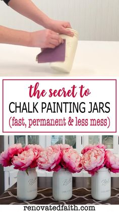 The EASIEST way to paint DIY mason jar crafts for centerpieces, home décor or baby showers in white, pastels, or any color you choose. This DIY tutorial shows you how to paint mason jars with the best chalk spray paint & how to paint lids so they look rusty. Whether on a bathroom shelf or as a vase with flowers, vintage, distressed mason jars are a great addition to rustic farmhouse décor. Add glitter or gold paint for shower & wedding ideas. Painted Mason Jars, Spray Paint Mason Jars, Frosted Mason Jars, Distressed Mason Jars, Colored Mason Jars, Painted Glass Vases, Ball Mason Jars, Mason Jar Gifts, Mason Jar Diy