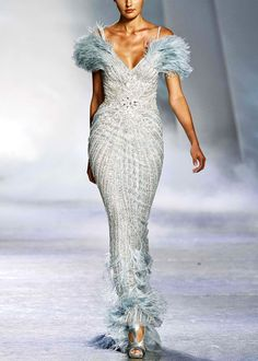 light blue feather gown