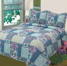"Product review for Fancy Collection 3pc Bedspread Bed Cover Floral Blue Teal Green New #78 Full/queen Oversize 100""x106"".  - Our quilt sets can also be used as bedspreads, coverlets, comforters and room decoration art craft. y. All quilt sets include pillow shams. This is a wonderful choice for your bedrooms, daybeds and also as a perfect gift for your friends such as weddings, baby showers....  Continue reading at  https://www.bestselleroutlet.net/bedding/bedspreads-coverl"