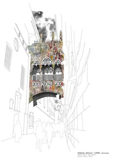 This work is carried out by the Chilean-born Artist Cueto, an artist who has settled in Barcelona for several years and knows the history and daily Wave Drawing, Barcelona, Pen And Wash, Renaissance Architecture, Sketch A Day, Make A Wish, Friend Wedding, Digital Collage, All Pictures