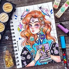 Image may contain: 1 person Wiccan Sabbats, Copic Art, Funny Qoutes, Drawing Quotes, Demon Girl, Marker Art, Fashion Sketches, Nerdy, Diy Crafts