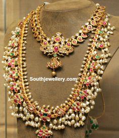 Simple Mango Necklace and Guttapusalu Haram - Indian Jewellery Designs Indian Wedding Jewelry, Indian Jewelry, Bridal Jewelry, Gold Jewelry, Indian Bridal, Diamond Jewellery, Antique Jewellery, Indian Necklace, Choker Jewelry