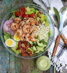 Grilled Shrimp Chopped Salad with Creamy Avocado Dressing  | Olive and Tate