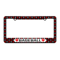Baseball Love with Hearts - License Plate Tag Frame - Hearts Love Design
