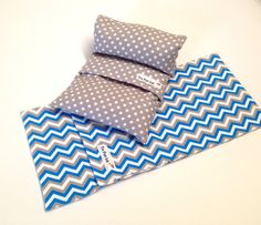 """Microwave Flax HEATING PAD Set -1 Flax sak and1 extra cover - Grey/white and and aqua chevron - heat therapy- Heat/cold pad- """"The FLaX SaK"""""""