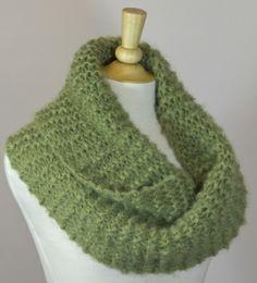 Chilly Cowl, Garter stitch mohair yarn