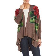 Desigual Joana Cardigan (290 RON) ❤ liked on Polyvore featuring tops, cardigans, black, floral tops, long length cardigan, dolman sleeve tops, floral print cardigan and sequin top