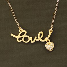 Valentine's Day Jewelry - Gold Love Necklace with Tiny Pave Heart. $27.00, via Etsy.