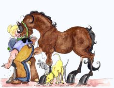Farrier and dogs Horse Art print