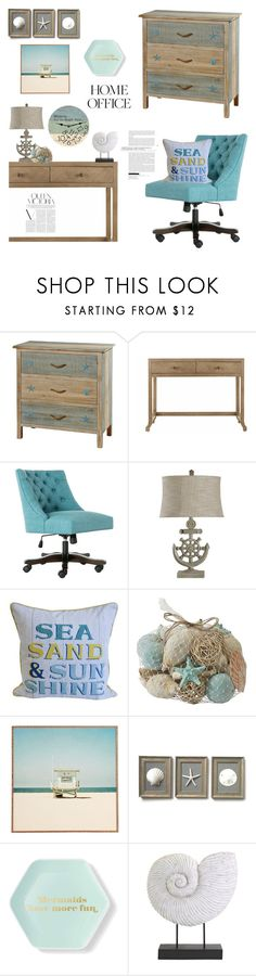 """""""Home Office: Vamos a la Playa"""" by random11-1 ❤ liked on Polyvore featuring interior, interiors, interior design, home, home decor, interior decorating, Safavieh, Pier 1 Imports, DENY Designs and Forever 21"""