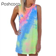 Tie Dye Watercolor Print Pencil Women Beach Dress 2016 Summer Style Cute Mini Dresses Vestido Light Color Sundress
