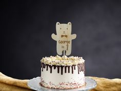 Birthday Bear Cake Topper Personalised Name and Age|Wooden Cake Topper|Birthday Boy Name and Age|Teddy Bear |Birch Wood|Personalised Text 30th Birthday Cake Topper, Happy 30th Birthday, Birthday Name, Wooden Cake Toppers, Wood Cake, Bear Cakes, Wedding Cake Toppers, Birch, Cake Decorating