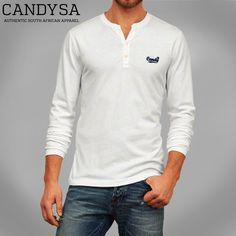 Candy SA | Mens Henley White Long Sleeve