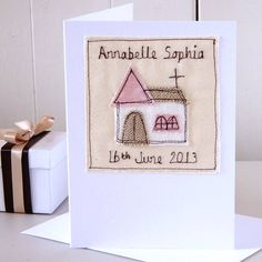 Lovely handmade christening card by milly and pip. Copyright © milly and pip