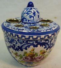 Encrier Clamecy Camaieu bleu et décor floral polychrome Klam et scie Duquenelle