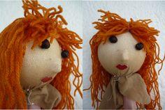 Puppet head - polystyrene ball - nylons - wool