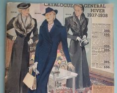 Vintage 1930s French shop catalogue. 'Catalogue General' produced by Galeries Lafayette, an upmarket Parisian department store. Dated Hiver (Winter) 1937 - 1938. Features a wide variety of goods including women's fashions, clothing for men and children, baby wear, household goods, furniture, haberdashery etc. Sold by 'SoMuchFrippery' vintage shop on etsy - https://www.etsy.com/uk/shop/SoMuchFrippery?ref=search_shop_redirect Vintage books and magazines
