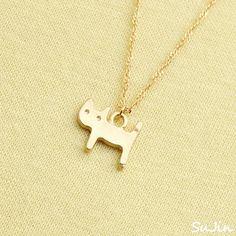 Matte Kitty Cat, Gold Plated, Necklace. $15.95, via Etsy.