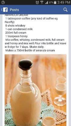 Homemade  Amarula cream Drinks Alcohol Recipes, Punch Recipes, Cocktail Recipes, Alcoholic Drinks, Beverages, Yummy Recipes, Recipies, Homemade Alcohol, Homemade Liquor