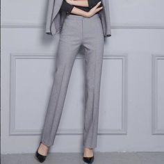 Naviu Women Trousers Plus Size Occupation Ol Spring Autumn Office Ladies Slim Mid Waist Dark Gray Pants Light gray XXXL Trousers Women, Pants For Women, Office Ladies, Grey Pants, Spandex Fabric, Fashion Pants, Plus Size, Slim, Model
