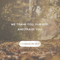 """""""Now, our God, we thank you, and we praise your glorious name!"""" 1 Chronicles 29:13 ERV http://bible.com/406/1ch.29.13.erv"""