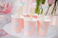 Pink heart hot chocolate cups with heart stir sticks, my bestie valentine | Be Envied Entertaining