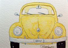 Watercolor Paintings by RoseAnn Hayes: Yellow VW Beetle