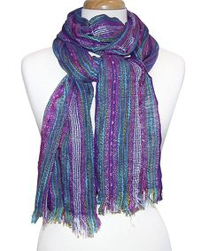 Look at this Purple Stripe Shimmer Fringe Scarf on #zulily today!