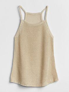 Gap Womens Metallic Crochet Tank Top Taupe
