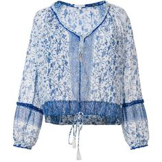 Poupette St Barth V-neck floral blouse (21.190 RUB) ❤ liked on Polyvore featuring tops, blouses, blue, blue blouse, floral print blouse, poupette st barth, blue top and floral print tops