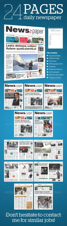 24 Pages Daily Newspaper - Newsletter Template InDesign INDD. Download here: http://graphicriver.net/item/24-pages-daily-newspaper/1586099?s_rank=443&ref=yinkira