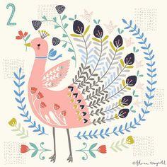 A self-initiated Christmas countdown project inspired by Kantha embroidery and folk art. Bird Illustration, Christmas Illustration, Illustrations, Grand Art, Rooster Art, Scandinavian Folk Art, Guache, Arte Popular, Bird Art