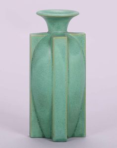 Fantastic Teco matte Green vase with four body-length buttress design.