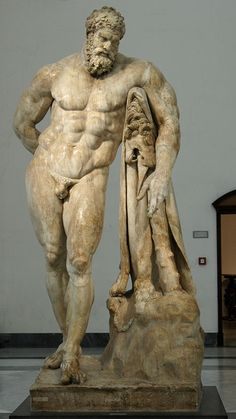 """Hercules (Heracles) (""""Farnese""""), Roman colossal statue (marble), copy after Hellenistic original, 3rd century AD (original 4th c. BC), (Museo Archeologico Nazionale, Naples)."""