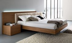 9387e1f64c2 Bedroom  Modern Large Contemporary Bed Frame With A Thin Mattress And The Bed  Frame Low