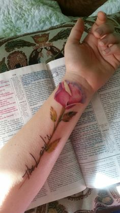 Christian tattoo Isaiah 44:5 rose flower stem pastel water color