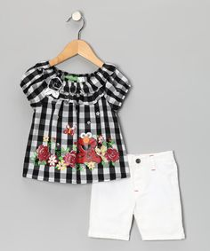 Take a look at this Black Gingham Elmo Top & White Shorts - Infant by Sesame Street on #zulily today!