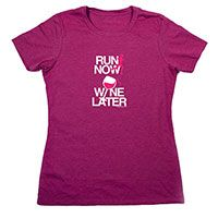 Is a glass of wine your favorite way to recover from a long run? Then our run now wine later tee in white lettering and hot pink details has your name on it! Our super soft cotton blend shirts are a fun, fashionable way to show off your love for running.