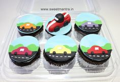 Colorful Car theme customized fondant cupcakes for kids birthday at Baner, Pune