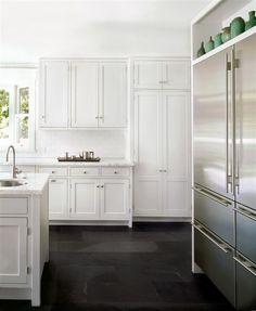 Van Ness Kitchen. Black slate floor in brushed finish. 12 x 24 inch